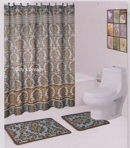 "15 pc. Bath Mat Set/Fabric Shower Curtain/Fabric Covered Hooks - ""Damask"" Blue"
