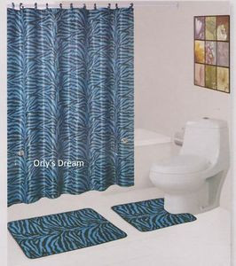 15 pc Printed Bath Mat Set/Fabric Shower Curtain/Fabric Covered Hooks-ZEBRA BLUE