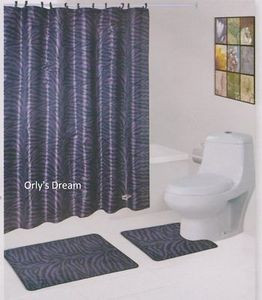 "15 pc. Bath Mat Set/Fabric Shower Curtain/Fabric Covered Hooks - ""ZEBRA"" PURPLE"