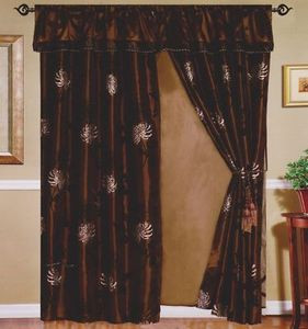 Beautiful New Brown Flocking Curtain / Drape Set + Valance + Backing + Tie Backs