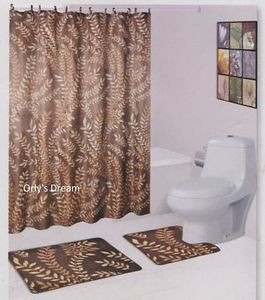 15 pc Printed Bath Mat Set/Fabric Shower Curtain/Fabric Covered Hooks-MOSS BROWN