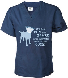 Dog Navy V Neck Scrub Top
