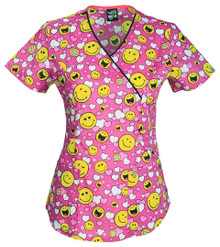 Code Happy : Happy To Love You Print Scrub Top For Women
