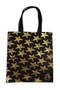 Gold sea star on black tote bag.