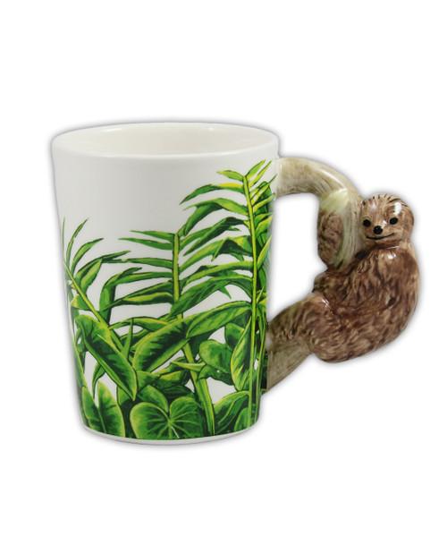 Adorably designed mug with slot handles.