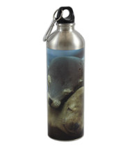 Stainless steel water bottle designed with sea lions hugging.