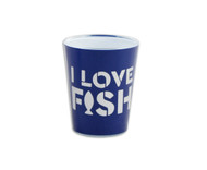 "Navy blue shot glass with ""I Love Fish"" design."