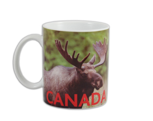Canadian moose mug with CANADA written out on lower section.