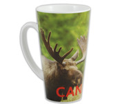 Latte mug with Canadian moose pictured in nature with CANADA on lower section of the mug.