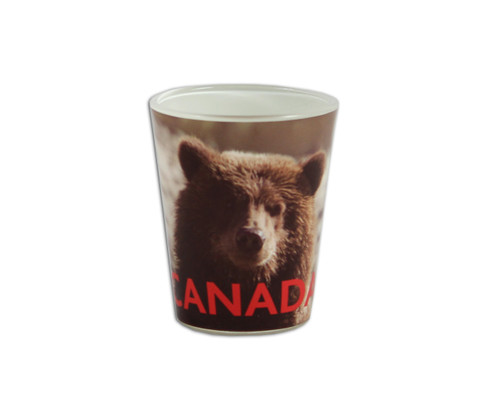 Bear shot glass with CANADA written on the lower section of the glass.