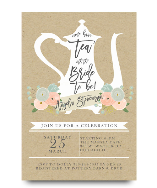 Tea with bride bridal shower invitation tea with the bride bridal tea partybrunch teapot floral flowers filmwisefo