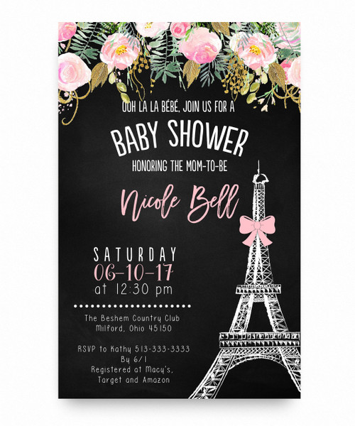 Paris Baby Shower Invitation, Ooh La La Bebe, Oh La La Bebe, Paris