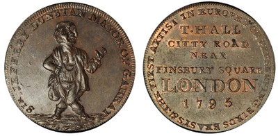 Thomas Hall, 'Sir Jeffery Dunstan' Copper Halfpenny, 1795 (DH Middlesex 316)