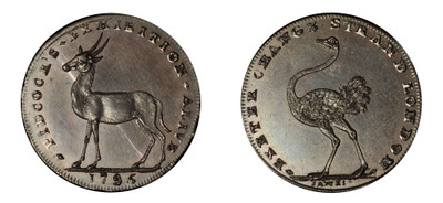 Gilbert Pidcock, 'Pidcock's Exhibition', Copper Halfpenny, 1795 (DH Middlesex 447a)