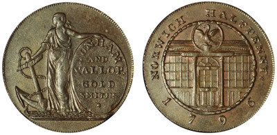 Dunham & Yallop, Copper Halfpenny, 1796 (D&H Norfolk 33)