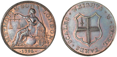Meymott & Son, Copper Halfpenny, 1795 (D&H Middlesex 378)