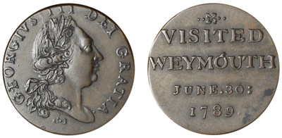 Weymouth, George III, Commemorative Farthing Sized Medalet, 1789 (D&H Dorsetshire 12)