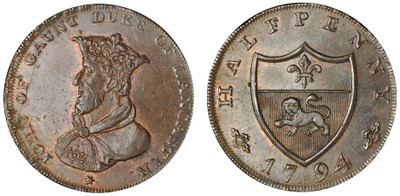 William Lutwyche, Imitation Halfpenny of Thomas Worswick & Sons, 1794 (D&H Lancashire 43)