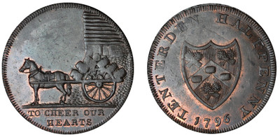 Isaac and Thankful Cloake, Commercial Halfpenny, 1796 (D&H Kent 42)