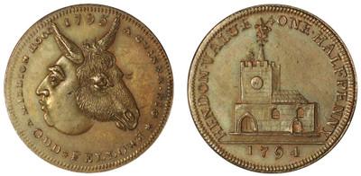 Skidmore, Copper Halfpenny, 1794 (DH Middlesex 332b), the Hamer, Cokayne Specimen
