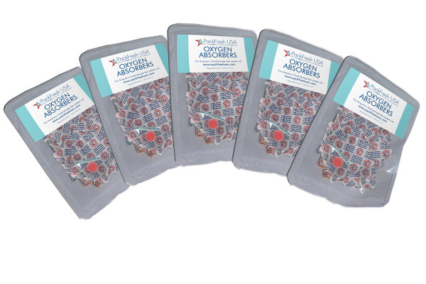 (50) 500cc oxygen absorbers in convenient 10-packs for no waste food preservation