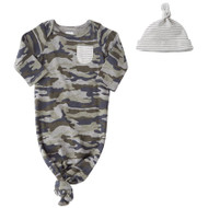 Mud Pie Camo Sleep Gown & Cap Set
