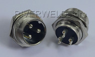 3 pins Aviation Plug Air Connector 16-3P Male Fit Plasma & TIG Welding Torch 2pk