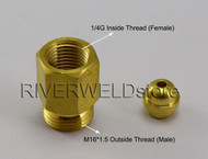 Welding Fitting Thread Switch 1/4G (Female) Inside & M16*1.5 Outside (Male)