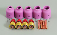 "TIG Gas Lens Collet Body Accessory 0.040""-1/8"" Fit SR WP 9 20 25 TIG Welding Torch 13pcs"