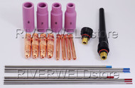TIG KIT Collet Body and Tungsten Electrode Fit TIG Torch PTA DB WP 17 18 26 22PK