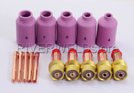 TIG Gas Lens Nozzle Collet Body KIT Fit SR DB WP-17 18 26 TIG welding Torch 15PK