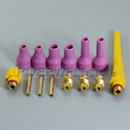 14PK TIG KIT Alumina Nozzle Collet Bodies Back Cap Fit TIG Welding Torch QQ150A