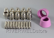 22pcs SG-55 AG-60 Plasma Cutter consumables kit 50/60A Tips Electrodes & Shield Cups