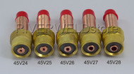 45V24 45V25 45V26 45V27 45V28 TIG Gas Lens Collet Body WP 17 18 26 TIG Torch 5PK
