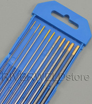 "1.5% Lanthanated WL15 Gold TIG Tungsten Electrodes Assorted Size .040""~1/8"",10pcs"