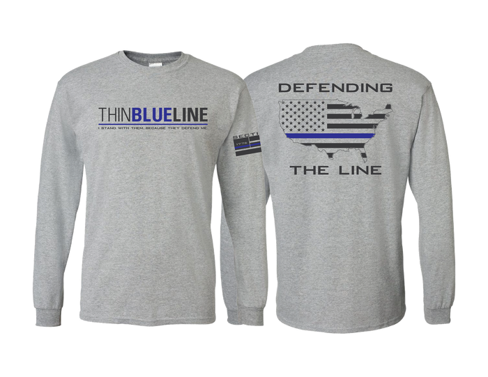 Thin Blue Line - Gray Long Sleeve