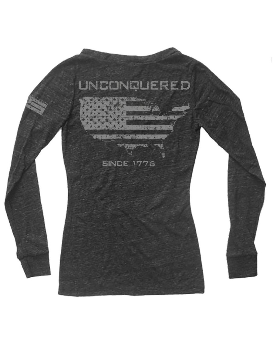 Unconquered Ladies Triblend Long Sleeve V-Neck