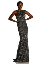 Theia Cutaway Shoulder Crunchy Sequin Gown