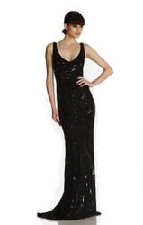 Theia V-Neck Geometric Beaded Gown