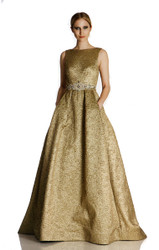 Theia Square Open Back Metallic Brocade Ballgown with Beaded Belt