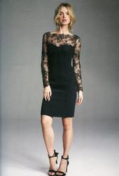 Rena Lange Black Lace and Viscose Blend Dress