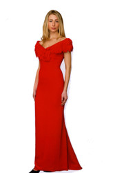 "Catherine Regehr Off Shoulder ""Babs Owen"" Gown with Laser Cut ""Diamond"""