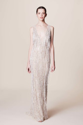 Marchesa Sleeveless Pearl Fringe Gown