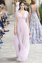 Luisa Beccaria Chiffon Crepon Gown With Cape
