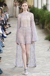 Luisa Beccaria Mini Tulle Embroidered Jumpsuit With Cape