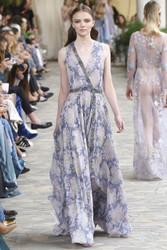 Luisa Beccaria Chiffon Printed Dress With Raffia Detail