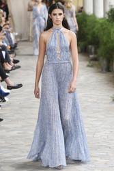 Luisa Beccaria Georgette Plissé Printed Dress With Grois Grain Details