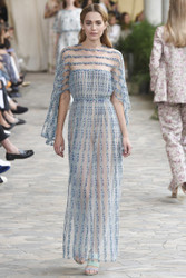Luisa Beccaria Tulle Embroidered Maxi Dress
