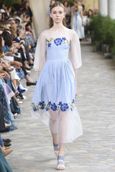Luisa Beccaria Cotton And Tulle Flowers Embroidered Dress