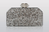 Judith Leiber Paillettes Faceted Clutch Silver